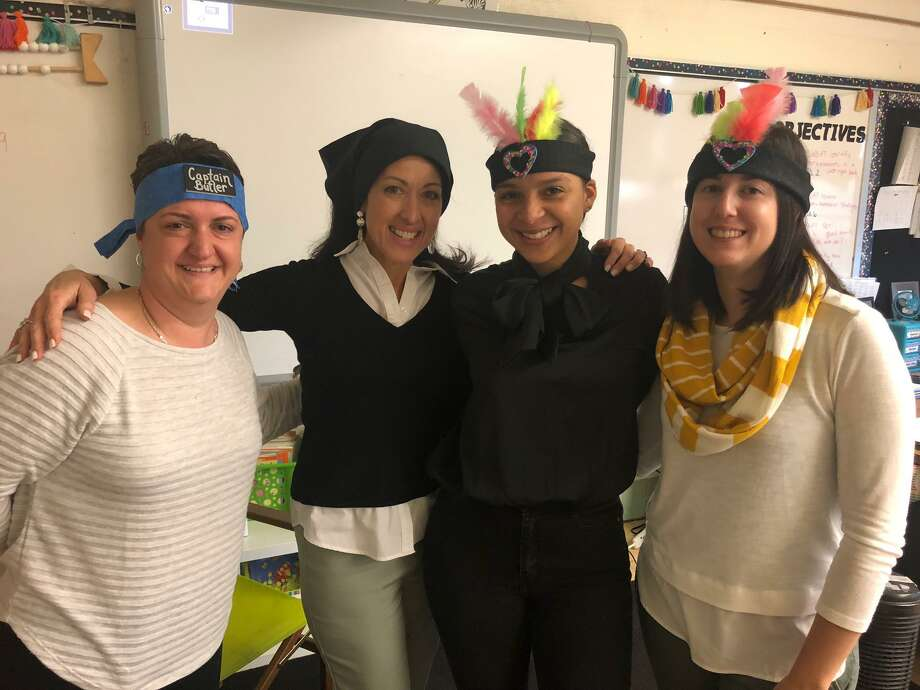 Elizabeth Shelton School teachers, left to right, Christine Butler, Deanna Toohey, Heather Brown and Amanda Kearson helped first graders learn about the first Thanksgiving. Photo: Brian Gioiele / Hearst Connecticut Media / Connecticut Post