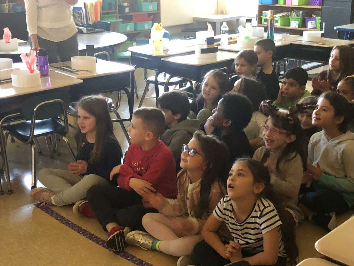 Some Elizabeth Shelton School first graders took the voyage back to 1620 right in their own classroom to learn about the first Thanksgiving.