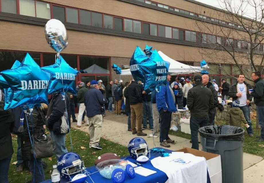 A previous year's Darien Turkey Bowl tailgate at New Canaan High School. Photo: Contributed