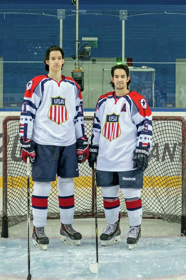 Garrett and Peter Gintoli, left to right, won bronze medals with the U.S. ice hockey team at the 2015 Winter Deaflympics in Russia. The Shelton brothers are graduates of Notre Dame High School in Fairfield. Photo: Contributed Photo /Maureen Lingle / Contributed Photo / Connecticut Post Contributed