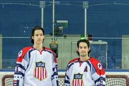 Garrett and Peter Gintoli, left to right, won bronze medals with the U.S. ice hockey team at the 2015 Winter Deaflympics in Russia. The Shelton brothers are graduates of Notre Dame High School in Fairfield.