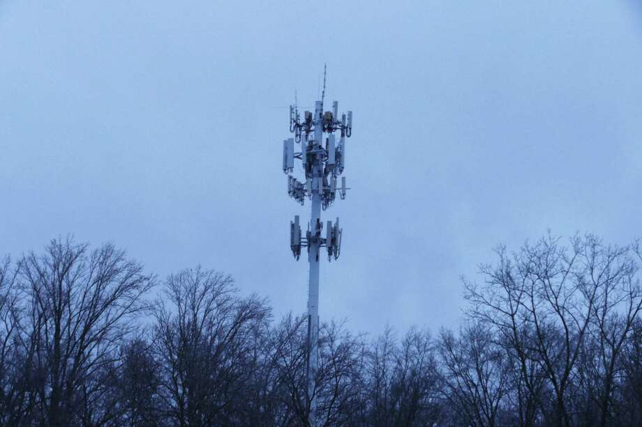 The cell tower in Vista, N.Y. is .7 miles up Routet. 123 from the New Canaan border and is reportedly 140 feet tall. People on Soundview Lane, near where a cell tower is being proposed, believe this tower may be why they have cell service and therefore do not need to have one put on private property in their neighborhood. This picture was taken Dec. 2, 2019. Photo: Grace Duffield / Hearst Connecticut Media