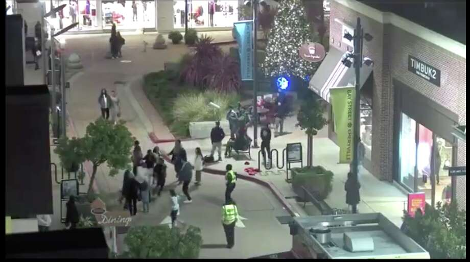 Two teens were arrested after a woman was attacked at an Emeryville mall on Black Friday 2019 and an off-duty California Highway Patrol officer who came to her aid was choked unconscious, police said. Photo: Courtesy