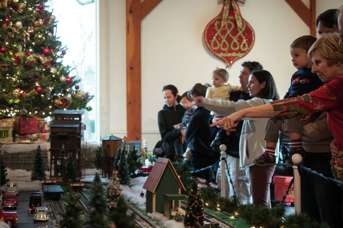 Visitors at the Holiday Express Train Show.