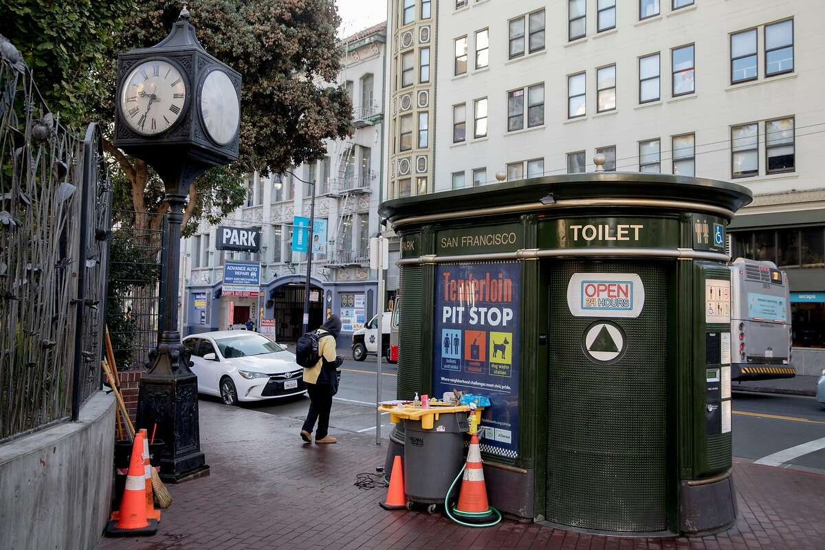 A 24-hour Pit Stop restroom is seen on the corner of Eddy and Jones streets in the Tenderloin district of San Francisco, Calif. Friday, Nov. 22, 2019.