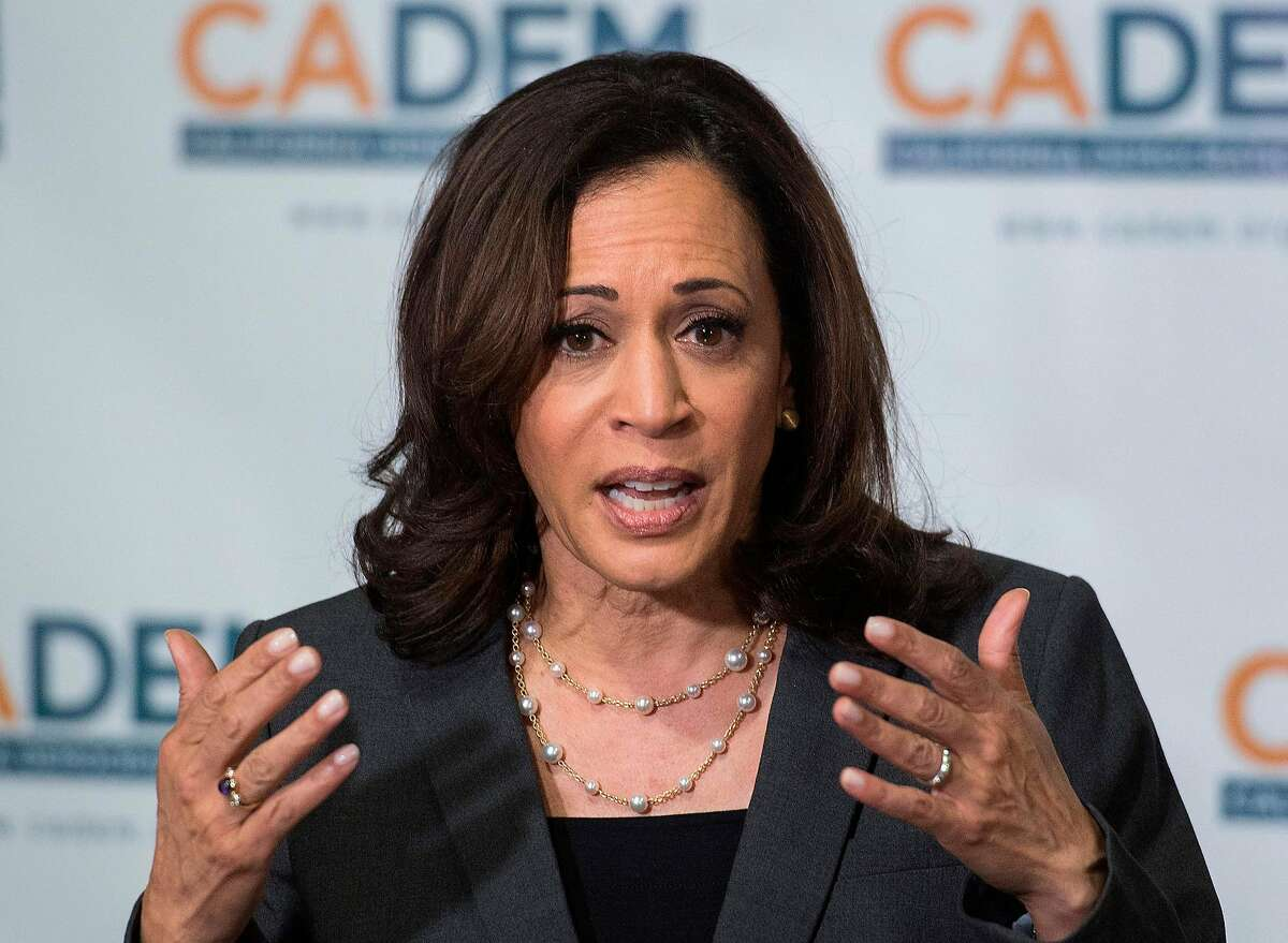 Democratic presidential hopeful, California Senator, Kamala Harris speaks at the California Democratic Party 2019 Fall Endorsing Convention in Long Beach, California on November 16, 2019. (Photo by Mark RALSTON / AFP) (Photo by MARK RALSTON/AFP via Getty Images)