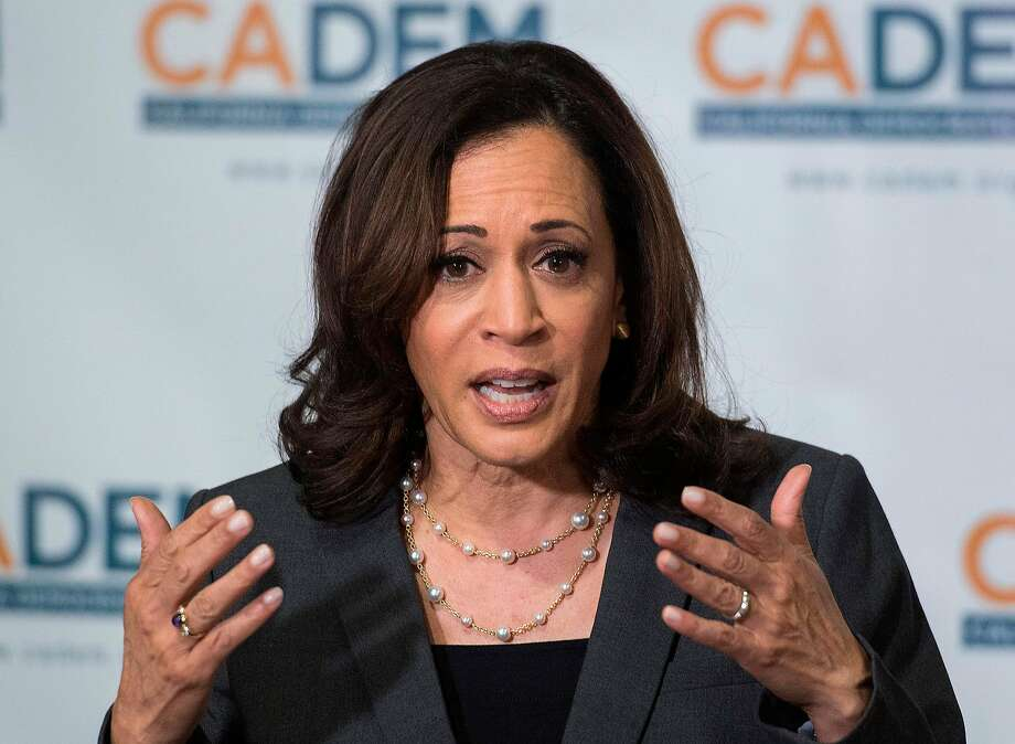 Democratic presidential hopeful, California Senator, Kamala Harris speaks at the California Democratic Party 2019 Fall Endorsing Convention in Long Beach, California on November 16, 2019. Harris dropped out of the race on Tuesday. (Photo by Mark RALSTON / AFP) (Photo by MARK RALSTON/AFP via Getty Images) Photo: MARK RALSTON / AFP Via Getty Images