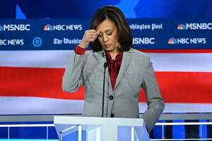 Democratic presidential hopeful California Senator Kamala Harris gestures during the fifth Democratic primary debate of the 2020 presidential campaign season co-hosted by MSNBC and The Washington Post at Tyler Perry Studios in Atlanta, Georgia on November 20, 2019. (Photo by SAUL LOEB / AFP) (Photo by SAUL LOEB/AFP via Getty Images)