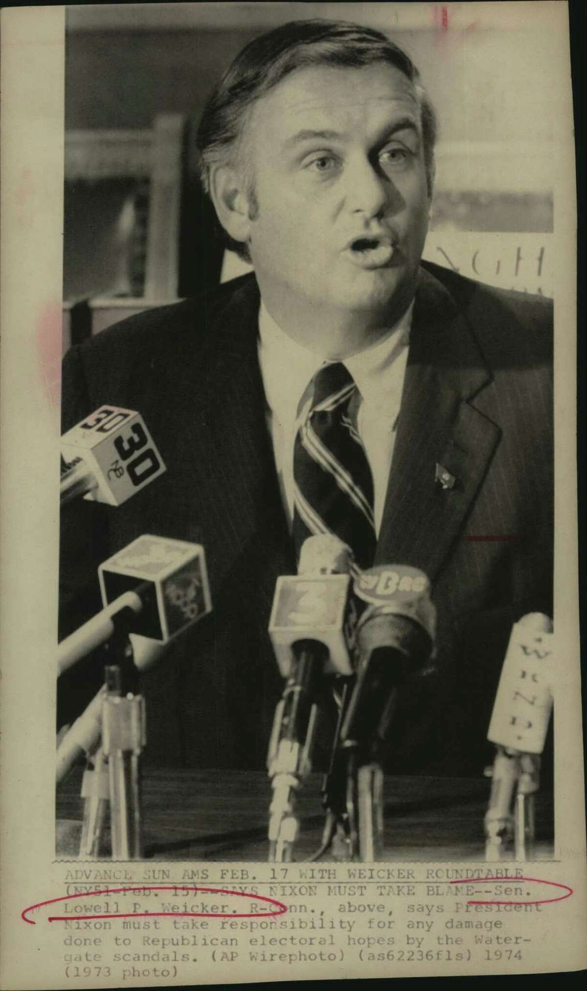Senator Lowell P. Weicker, Republican/Connecticut, above, says President Nixon must take responsibility for any damage done to Republican electoral hopes by the Watergate scandals.