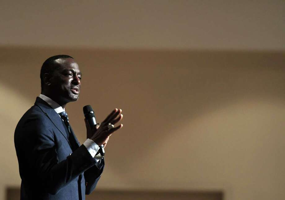 Yusef Salaam, one of the so-called Central Park Five, speaks during a staff development training forum for the New York State Coalition for Children's Behavioral Health on Tuesday, Dec. 3, 2019, at the Hilton in Saratoga Springs, N.Y. Salaam was exonerated in 2002 after being wrongly accused and convicted in the 1989 beating and rape of a white woman in Central Park. (Will Waldron/Times Union) Photo: Will Waldron, Albany Times Union / 40048384A
