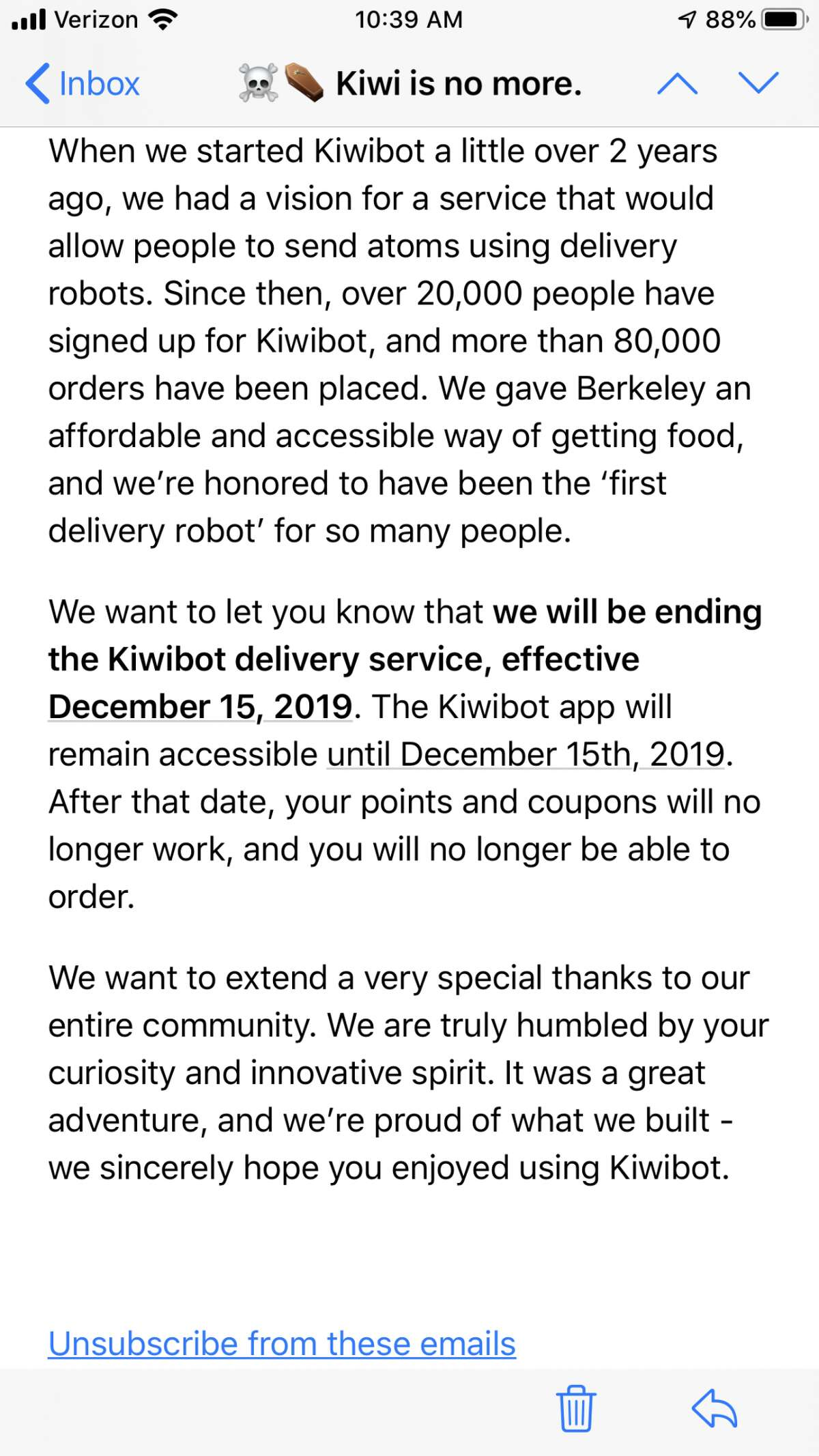 Kiwibot sent out an email on Monday, Dec. 2 that led customers to believe the company was shutting down.
