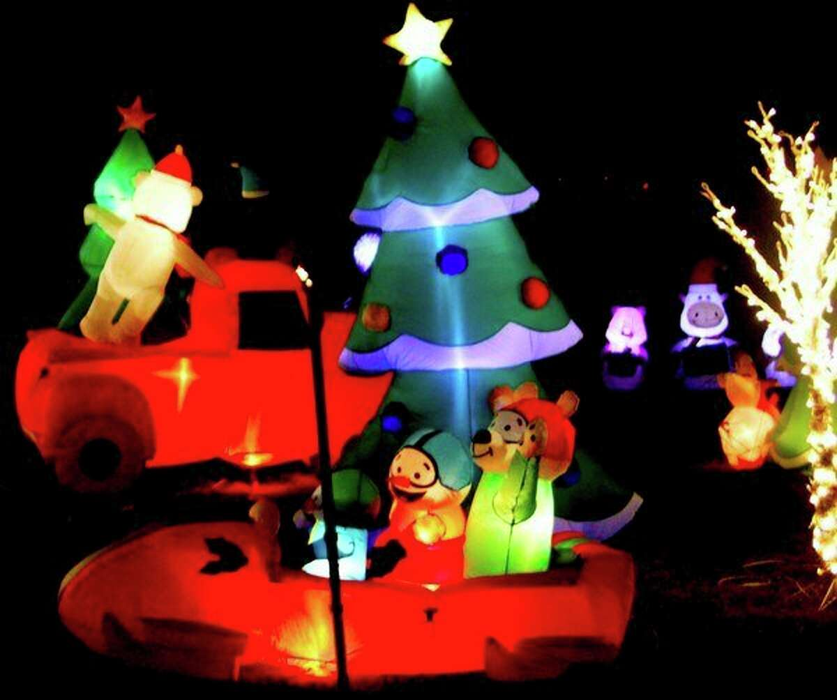 Colorful inflatables line thewalkway at the Jurgess Family Holiday Lighted Trail.(Sara Eisinger/Huron Daily Tribune)