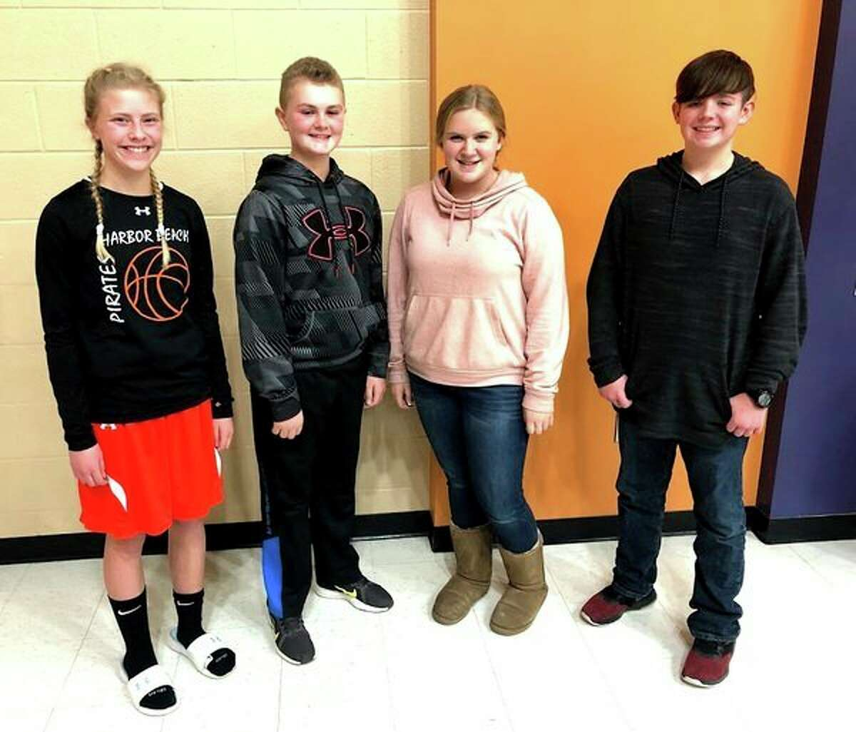 Level two winners from grades 7-9 are Savana Roggenbuck, Hackett Soper, Max Climer, and McKenna Booms. (Submitted Photo)