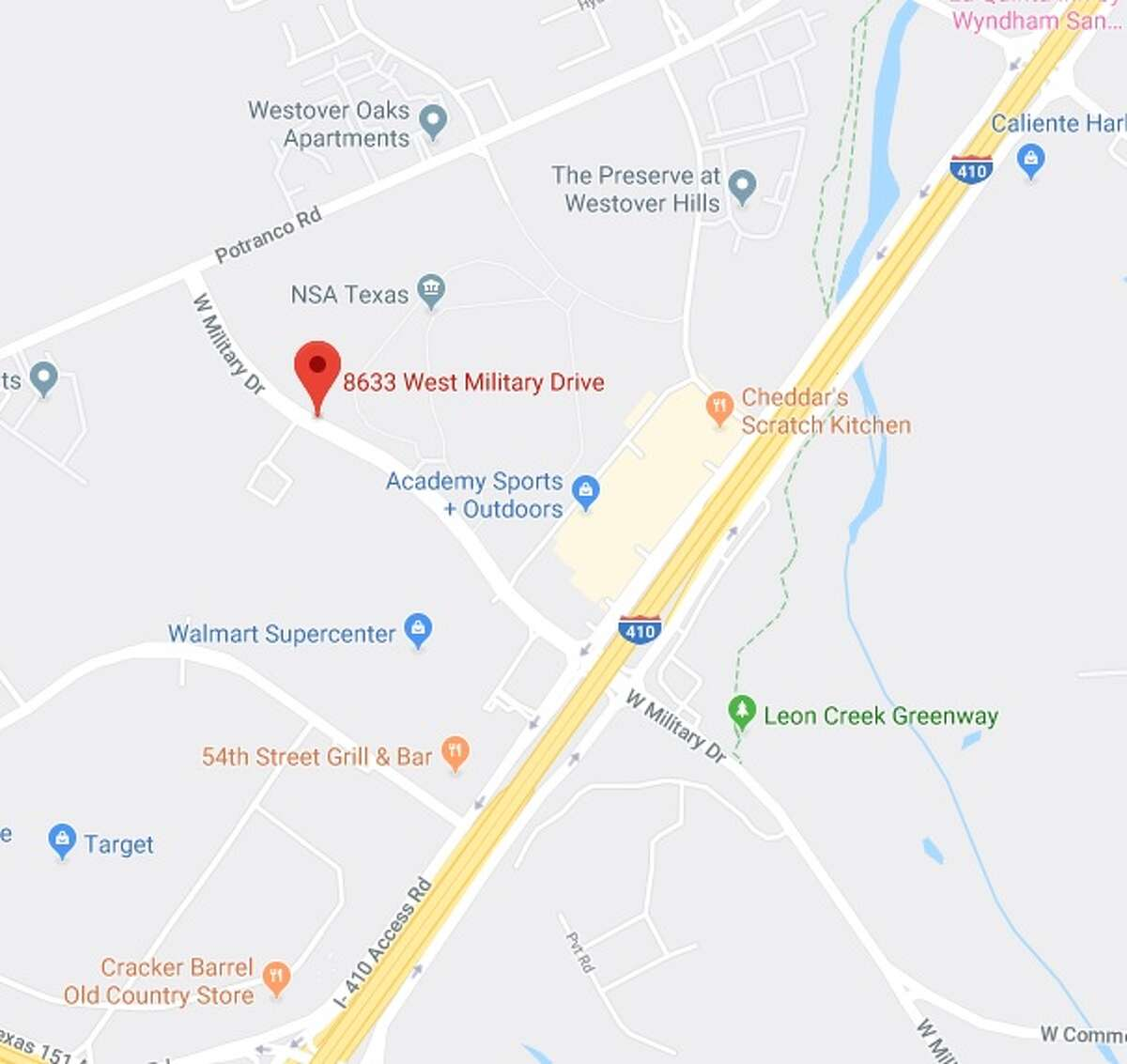 CPS Energy plans to close the southbound right turning lane from West Military Drive and Loop 410 Frontage Road from 9 a.m. to 3 p.m. Wednesday. The map shows the area that will be affected by the closure.