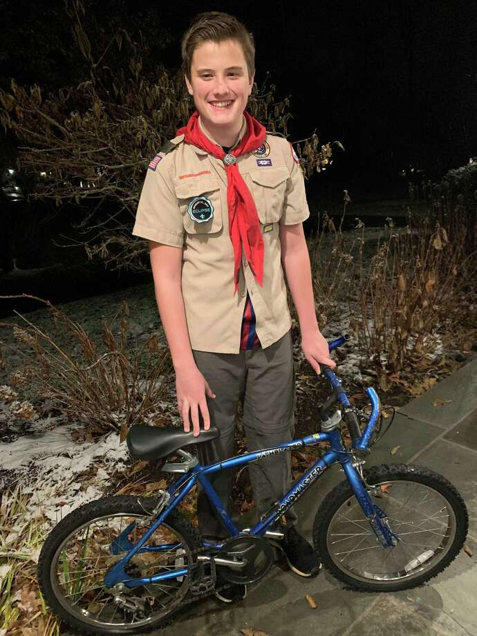 Jacob Anger, 13, is collecting bikes to help children and adults in Africa. Photo: Contributed Photo