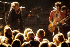 Mick Jagger and Keith Richards of The Rolling Stones at The Altamont Speedway on December 6, 1969.