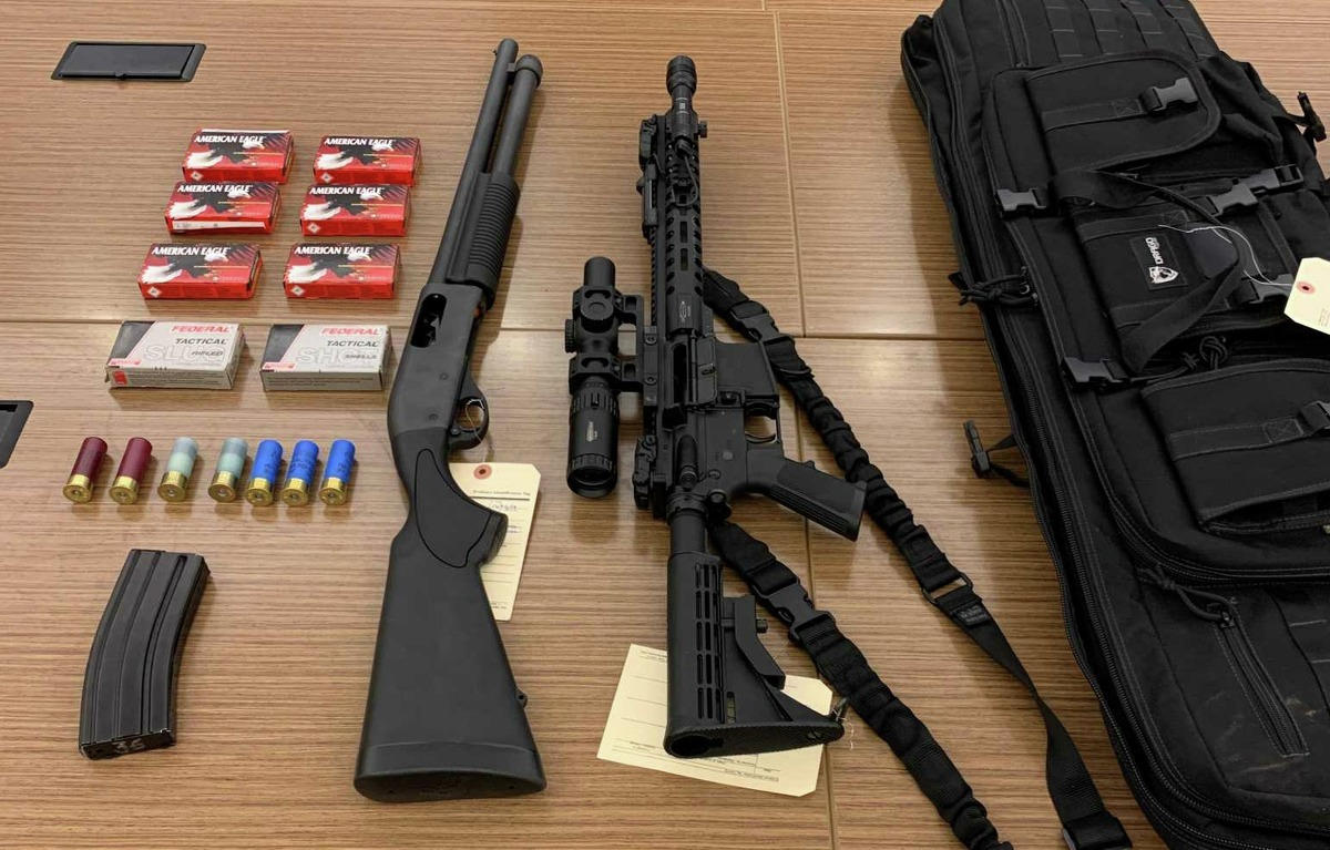 """A stolen AR-15 assault rifle and a """"tactical"""" rapid fire shotgun were found in the possession convicted felon Johan Cifuentes in Stamford, on Dec. 2, 2019."""