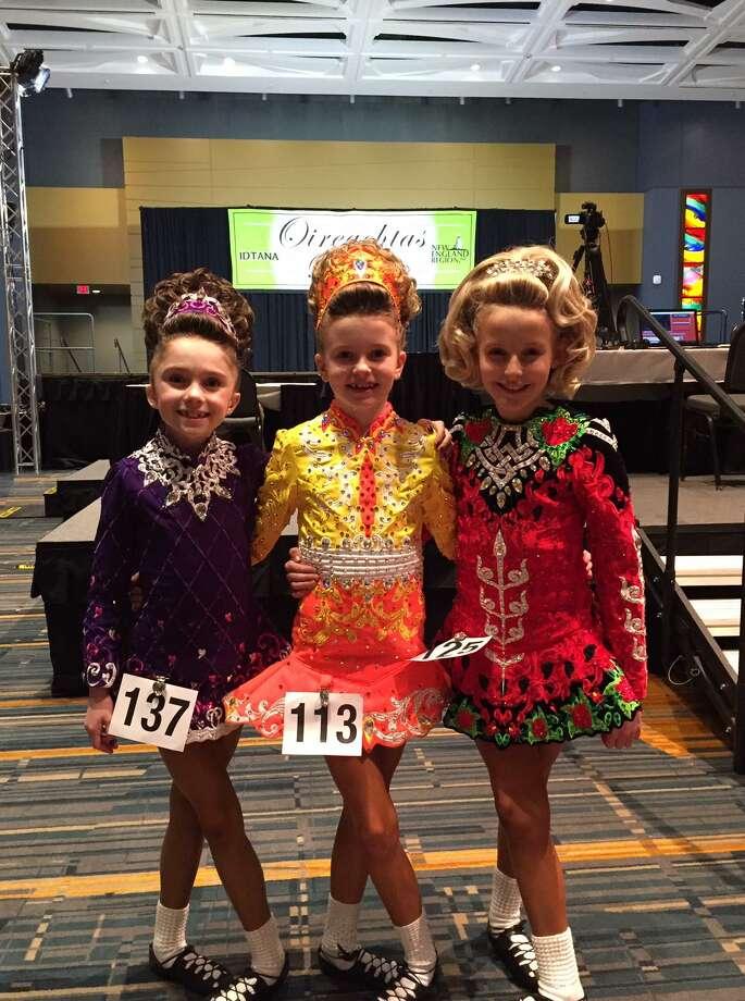 Ridgefield dancers Lucy Lowman, Caroline Pickett, and Mairead Luhman. Photo: Contributed Photo