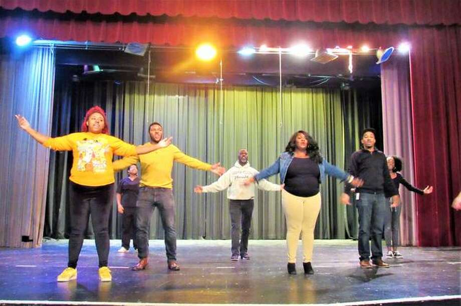 "The cast of ""Purpose: A Christmas Worship Musical"" on stage at Alton Middle School (AMS). The show is written and directed by AMS Theater Director Paul Pitts, under his Roxana-based company Psalm 150 Theatrics. Photo: Dylan Suttles 