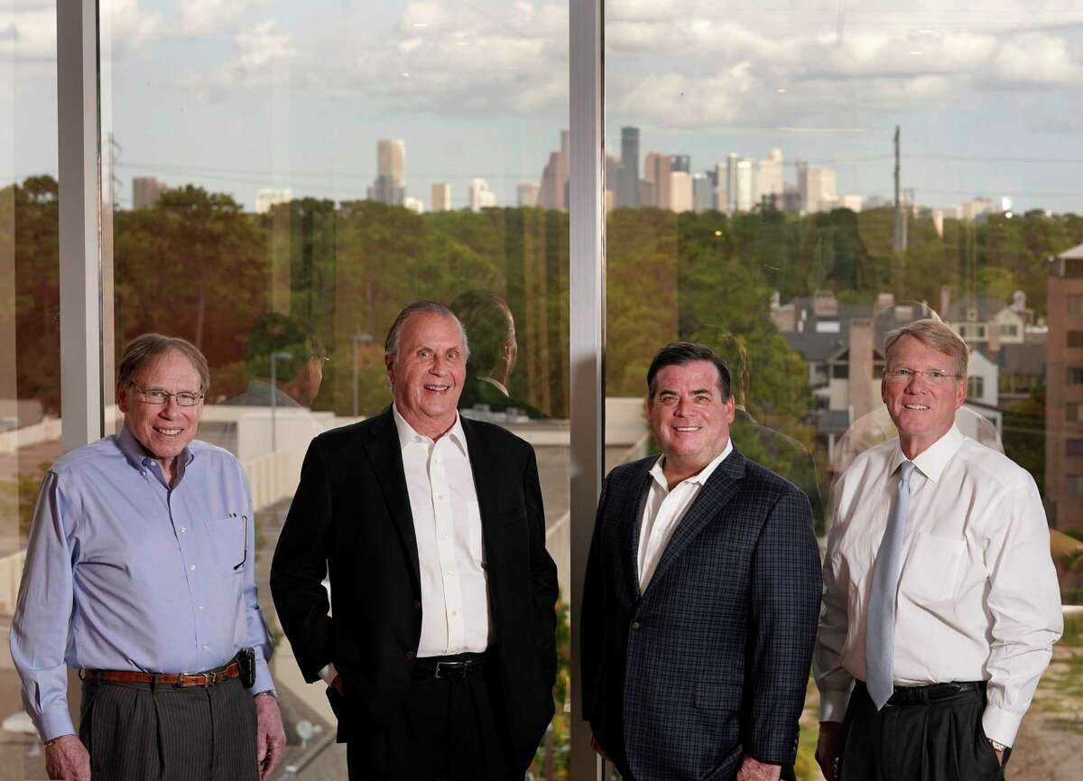 Howard Rambin III, co-founder and principal, left, Dan Moody Jr., co-founder and principal, Dan Moody III, managing partner, and Bob Cromwell, managing partner, right, are shown at Moody Rambin, 1455 West Loop South, Thursday, Oct. 10, 2019, in Houston.
