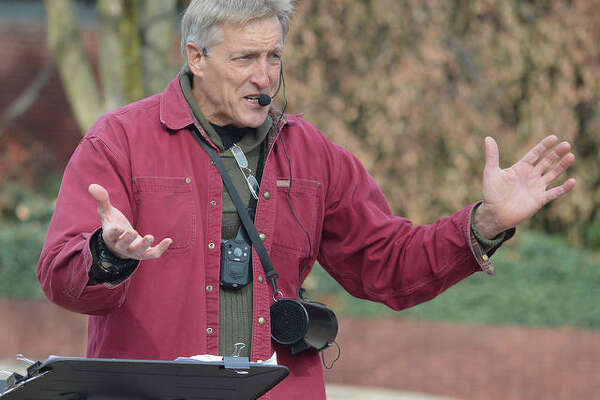 Preacher Tom Rayborn talks to SIUE students on Nov. 20 during his weekly sermon on the Quad. Students have said that Rayborn's preaching makes campus feel unsafe, while university officials have said that his speech is protected by the First Amendment.