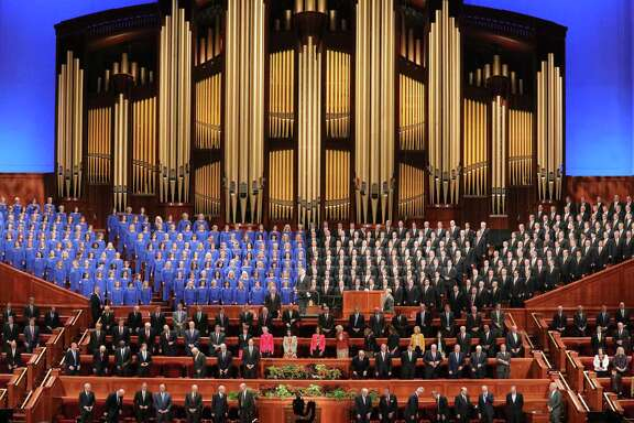 The Tabernacle Choir at Temple Square perform during The Church of Jesus Christ of Latter-day Saints' twice-annual church conference in Salt Lake City.