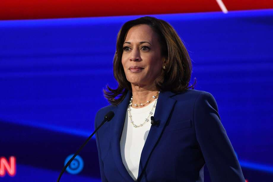 In this file photo taken on October 15, 2019 Democratic presidential hopeful California Senator Kamala Harris looks on during the fourth Democratic primary debate of the 2020 presidential campaign season co-hosted by The New York Times and CNN at Otterbein University in Westerville, Ohio. Photo: SAUL LOEB / AFP Via Getty Images