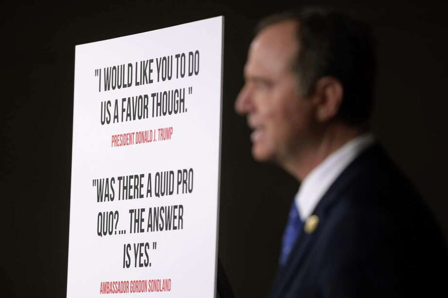 WASHINGTON, DC - DECEMBER 03:  Chairman of U.S. House Intelligence Committee Rep. Adam Schiff (D-CA) speaks during a news conference on the Trump impeachment inquiry December 3, 2019 on Capitol Hill in Washington, DC. House Democrats released a report on Tuesday accusing President Donald Trump of power abuse for personal and political gains. (Photo by Alex Wong/Getty Images) Photo: Alex Wong, Staff / Getty Images / 2019 Getty Images