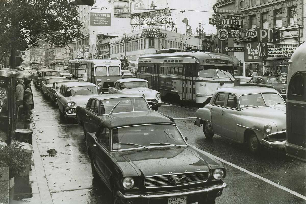 April 25, 1966- Billboards were once a common staple on Market Street, seen here near Fifth Street decades ago.