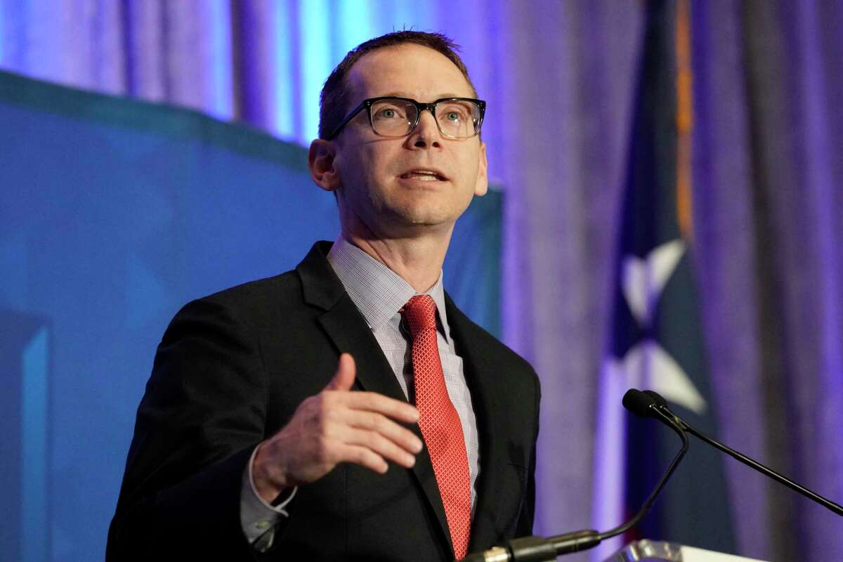 Mike Morath, Texas Education Commissioner, speaks at the Greater Houston Partnership's State of Education event held at the Hyatt Regency, 1200 Louisiana St.,Monday, Sept. 16, 2019, in Houston.