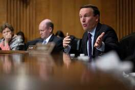 Sen. Chris Murphy, D-Conn., speaks during a hearing of the Senate Foreign Relations Committee about the future of U.S. policy towards Russia, Tuesday, Dec. 3, 2019 in Washington, on Capitol Hill. (AP Photo/Alex Brandon)