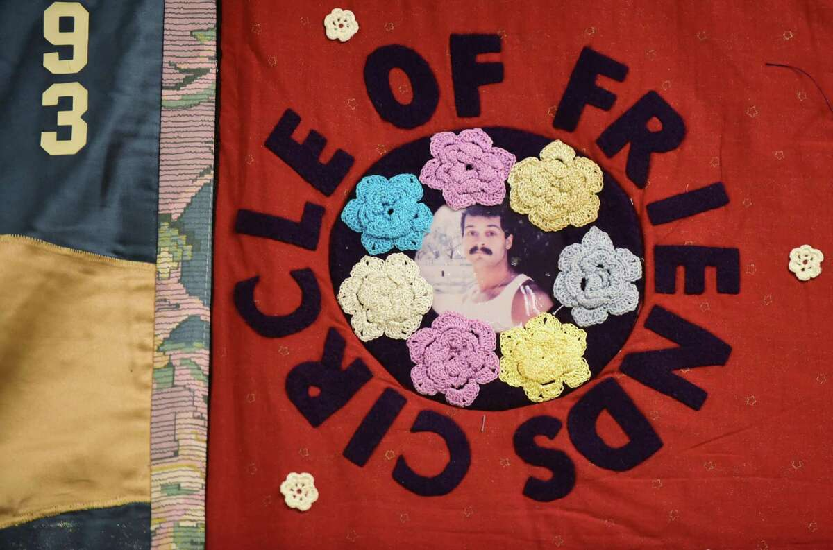 A panel of the AIDS Memorial Quilt honoring Richard White at the Circle Care Center which is hosting the section of quilt in recognition of World Aids Day 2019, Tuesday, December 3, 2019, at the Center in Norwalk, Conn. The Center will be hosting the display from December 4 through December 20 at their location, 618 West Avenue. The AIDS Memorial Quilt was created in 1987 as a memorial to those who have died of AIDS and as a way of helping others to understand the impact of the disease. The quilt is made up of panels that commemorate the life of someone who has died of AIDS.