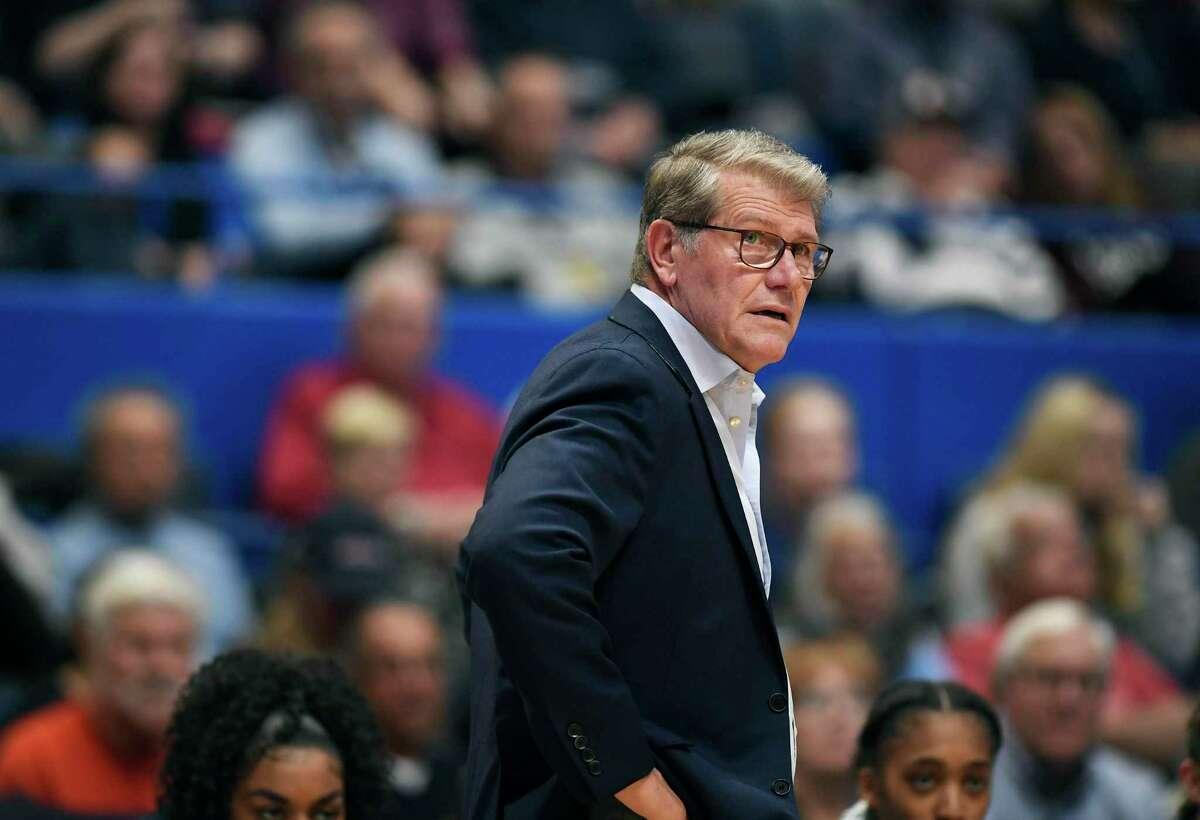 Connecticut head coach Geno Auriemma during the first half of an NCAA college basketball game,Tuesday, Nov. 19, 2019, in Hartford, Conn. (AP Photo/Jessica Hill)