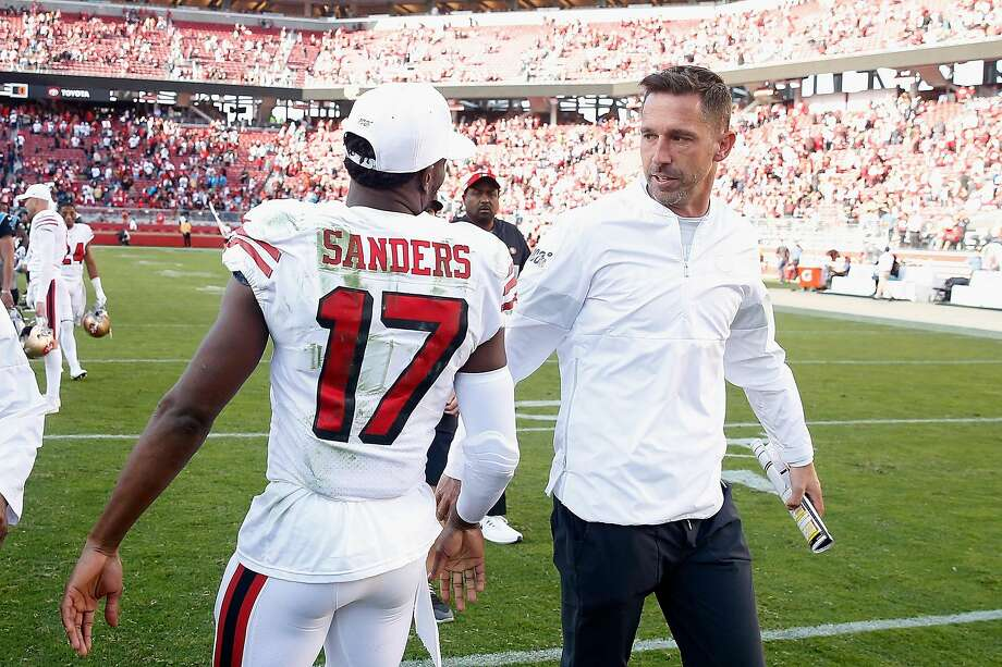 Head coach Kyle Shanahan of the San Francisco 49ers talks to Emmanuel Sanders #17 after a win against the Carolina Panthers at Levi's Stadium on October 27, 2019 in Santa Clara, California. ~~ Photo: Lachlan Cunningham / Getty Images