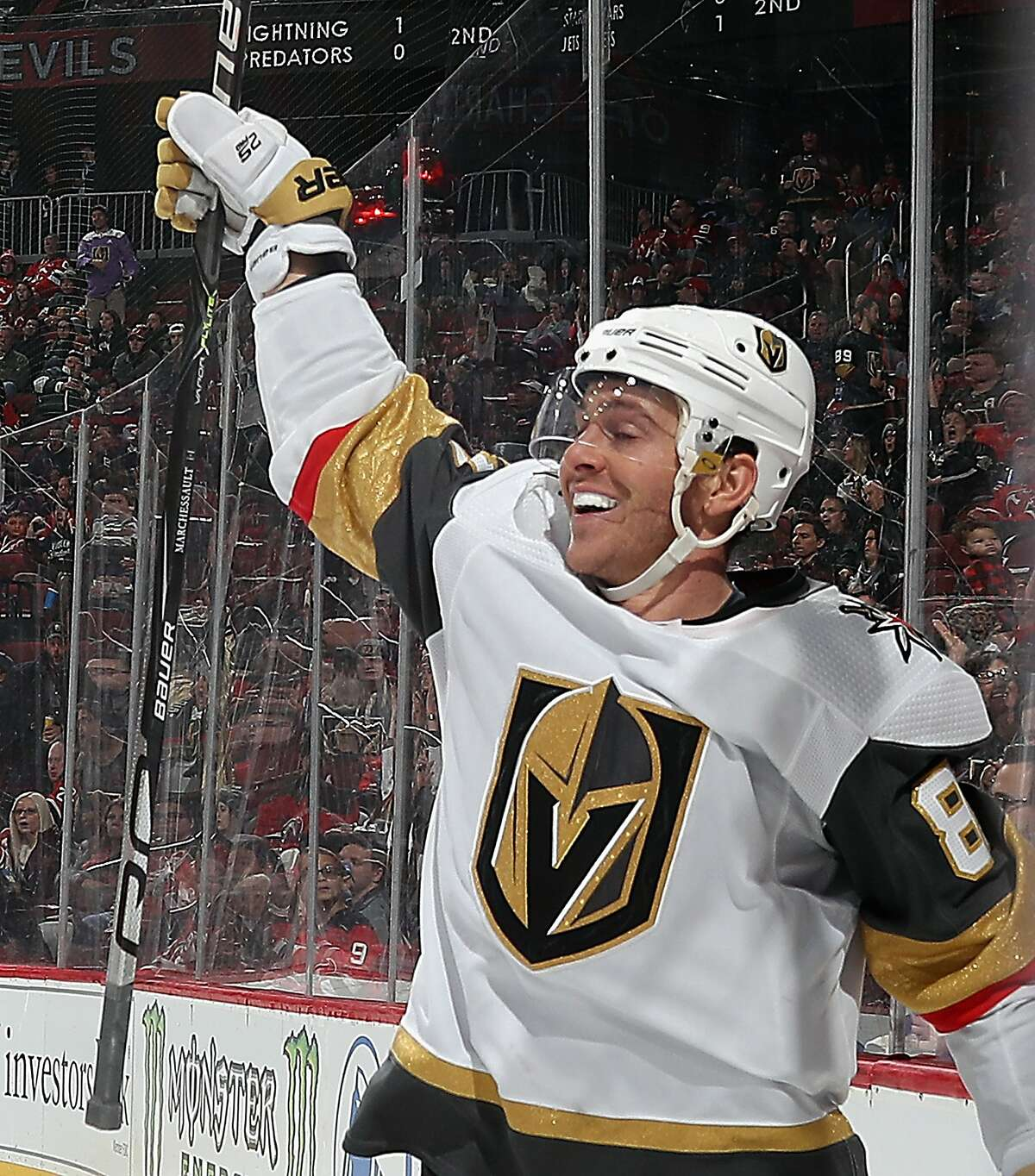 Jonathan Marchessault of the Golden Knights celebrates his hat trick in the third period.