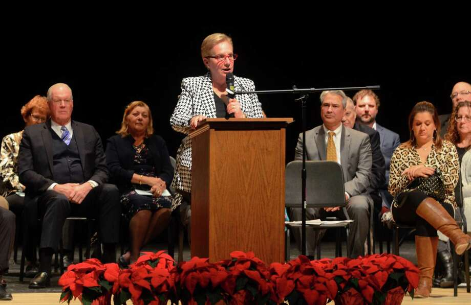 First Selectman Vicki Tesoro gives a speech after taking the oath of office during the Trumbull Swearing-In Ceremony held at Trumbull High School in Trumbull, Conn., on Tuesday Dec. 3, 2019. Photo: Christian Abraham / Hearst Connecticut Media / Connecticut Post