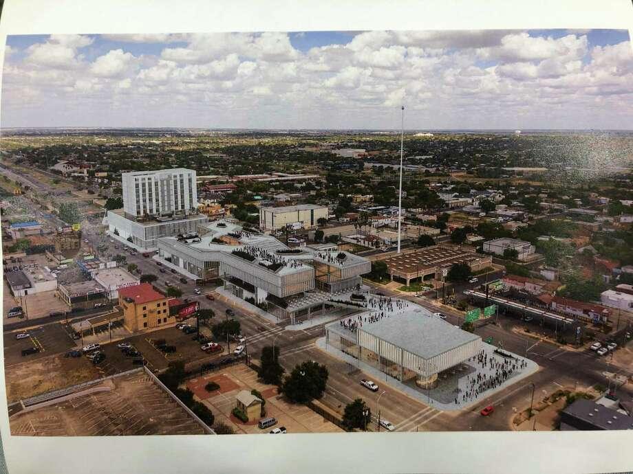 Esta representación proporcionada por Pozas Arquitectos, con sede en Monterrey, muestra cómo podría ser la revitalización de las cuatro cuadras ubicadas en el centro de Laredo. Photo: Imagen De Cortesía