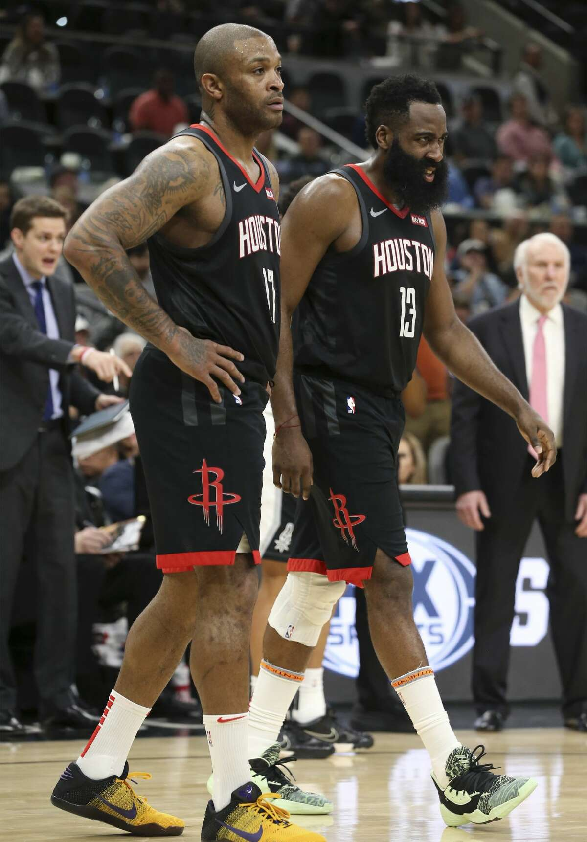 Houston Rockets' James Harden (13) reacts after a play against the Spurs during their game at the AT&T Center on Tuesday, Dec. 3, 2019. Spurs rally from 22 points to defeat the Rockets, 135-133, in double overtime.
