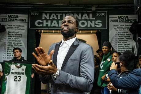 Former MSU and current Golden State Warriors basketball player Draymond Green waits to enter the arena before his number-retirement ceremony at the Breslin Student Events Center on December 3, 2019. The Blue Devils defeated the Spartans, 87-75.