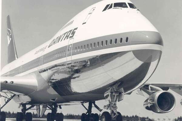 A Qantas Airways Boeing 747-200 model jet photographed after it was newly delivered to the Australian airline.