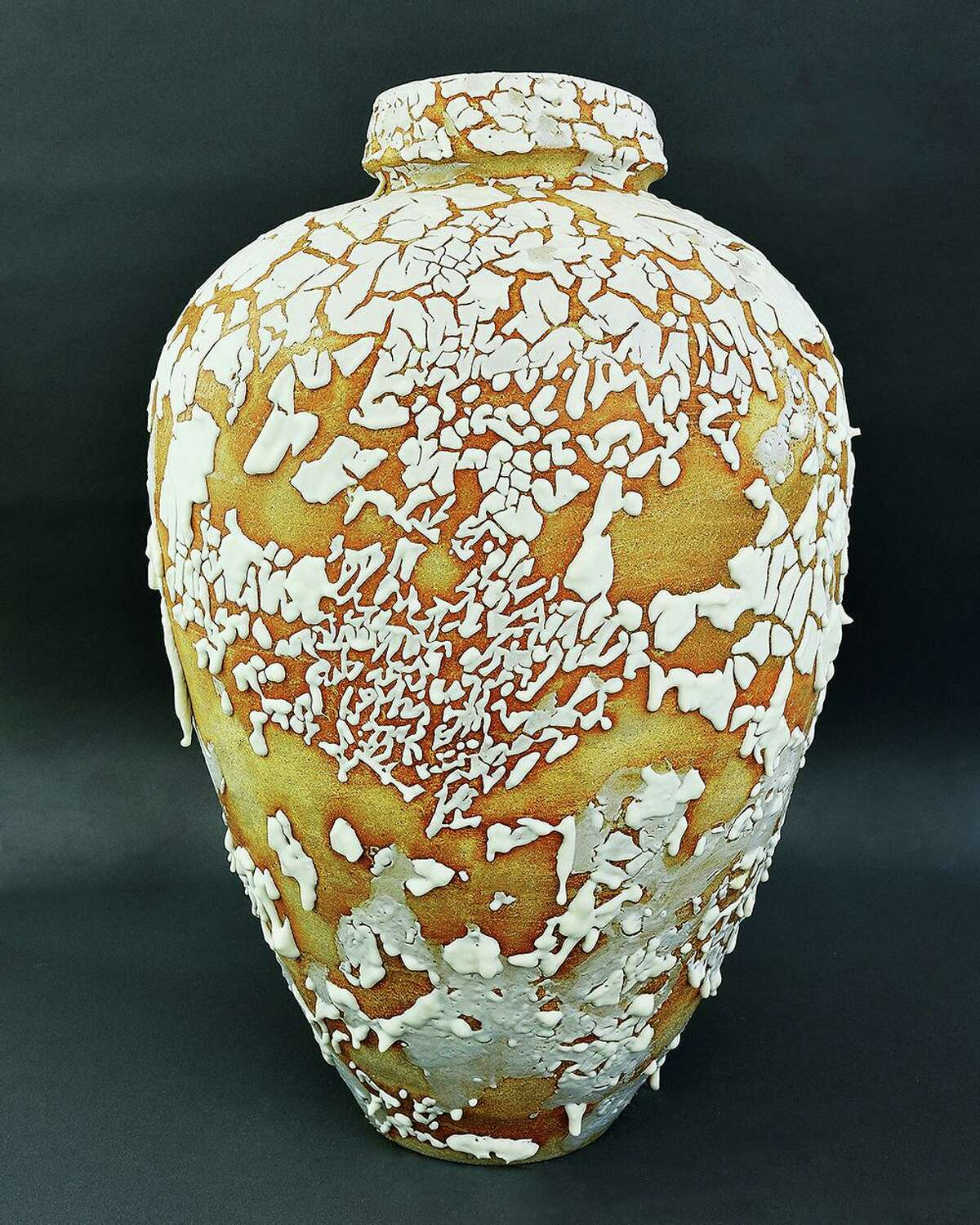 A 22-inch vessel with a Shino Crawl glaze on display at Savage Studio in Danbury, Conn., which is holding one last show at 93 Mill Plain Road before closing at the end of 2019. (Photo courtesy Savage Studio)