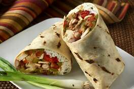 """""""Fajita Wrap Sandwich or burrito made with grilled chicken breast, saute green and red bell peppers, onions, rice and beans all wrapped up in a flour tortrilla and grilled. See other Burritos in my Sandwich lightbox."""""""