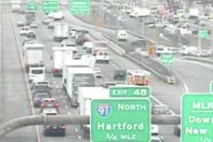 Traffic slows on I-95 north in New Haven on Wednesday, Dec. 4, 2019.