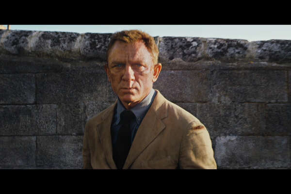 "Daniel Craig in a still from the official ""No Time To Die"" trailer for the newest James Bond film."