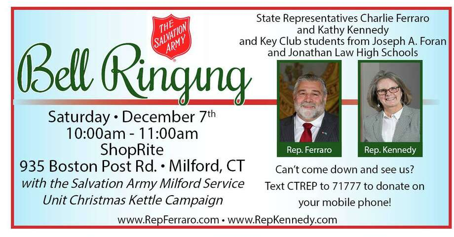 State Representatives Charles Ferraro (R-117) and Kathy Kennedy (R-119) along with the Key Club students from Foran and Jonathan Law High School will be volunteering to raise money for local residents-in-need by collecting for the Salvation Army at ShopRite, 935 Bost Post Rd., Milford on Saturday, Dec. 7, from 10 to 11 a.m. Photo: Contributed Photo.