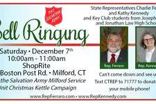 State Representatives Charles Ferraro (R-117) and Kathy Kennedy (R-119) along with the Key Club students from Foran and Jonathan Law High School will be volunteering to raise money for local residents-in-need by collecting for the Salvation Army at ShopRite, 935 Bost Post Rd., Milford on Saturday, Dec. 7, from 10 to 11 a.m.