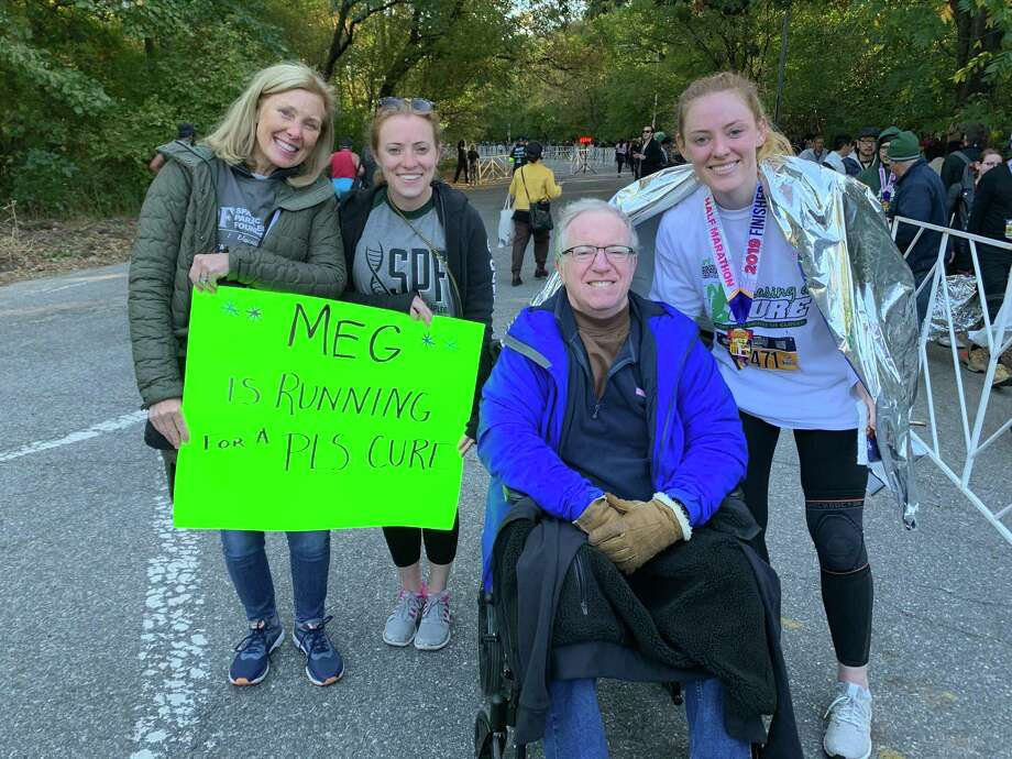 Caroline, Katie, Dave, and Meg Marren at the Brooklyn Half Marathon that Meg ran. Photo: Contributed Photo / Connecticut Post