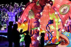 People attend the Magical Winter Nights, a lantern festival and holiday celebration, at Gulf Greyhound Park, 1000 FM 2004, Sunday, Dec. 17, 2017, in La Marque. In addition to the lantern exhibits, the event includes a carnival and Chinese acrobatic performances. ( Melissa Phillip / Houston Chronicle )