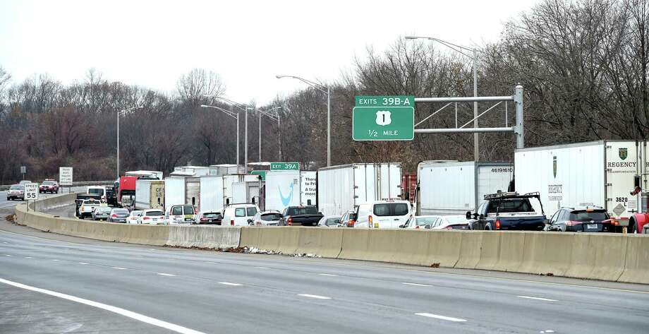 Traffic is backed up on southbound Interstate 95 in Milford because of an accident in Stratford on Wednesday. Photo: Arnold Gold / Hearst Connecticut Media / New Haven Register