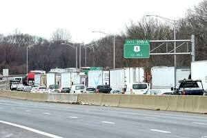 Traffic is backed up on southbound I-95 in Milford because of an accident in Stratford on December 4, 2019.